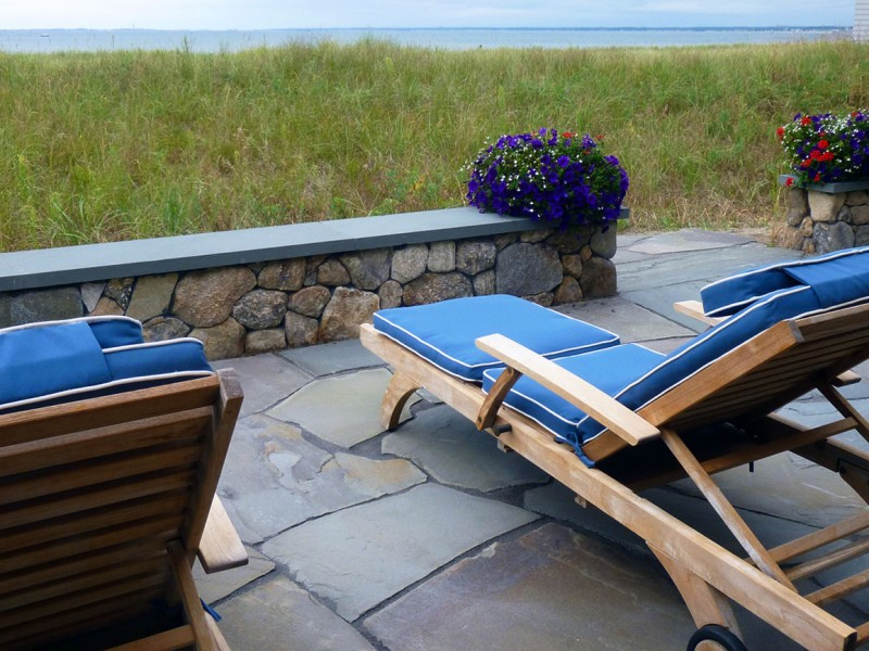 Ocean Natural Blue Stone Patio Wall